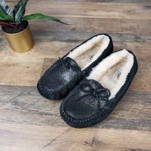UGG Dakota Black Shimmer Slip-on Moccasin